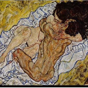 """Pareja de amantes II"", Egon Schiele"