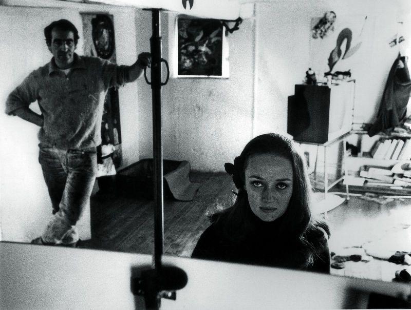 Niki de Saint Phalle and Jean Tingeuly at their studio in Soisy-